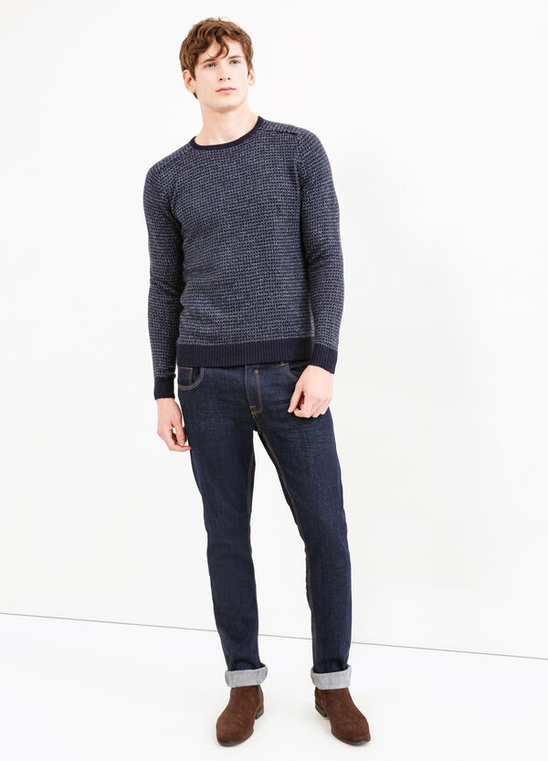 Cotton and viscose patterned pullover | OVS