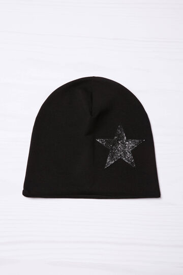 Beanie cap with glitter, Black, hi-res