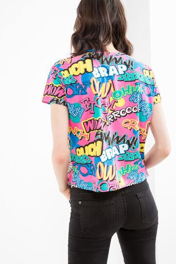 T-shirt crop puro cotone fantasia, Rosa, hi-res