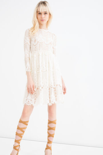 Solid colour lace dress., Milky White, hi-res