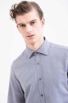 Camicia slim fit puro cotone, Grigio, hi-res