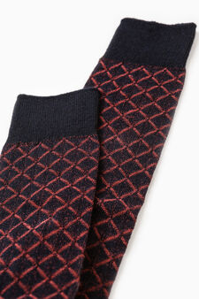 Long stretch socks with diamond pattern, Navy Blue, hi-res