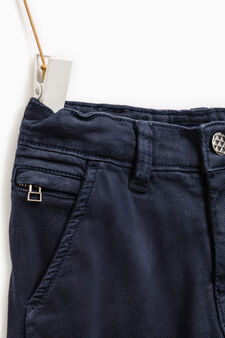 Stretch trousers with pocket with zip, Navy Blue, hi-res