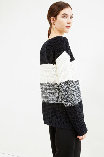 Chunky knit striped pullover, White/Black, hi-res
