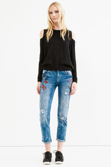 Skinny-fit crop jeans with rips and patches, Medium Wash, hi-res