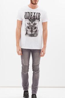 T-shirt puro cotone con stampa, Bianco ottico, hi-res