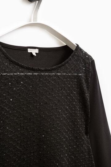 T-shirt stretch paillettes Smart Basic, Nero, hi-res