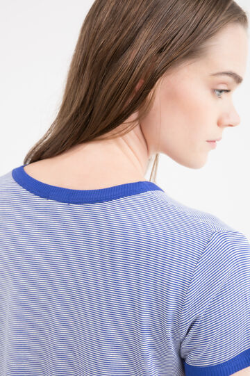 Stretch viscose T-shirt with patch, Blue, hi-res