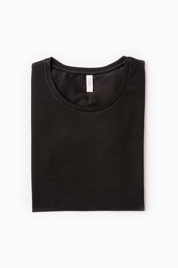 T-shirt intima cotone stretch, Nero, hi-res