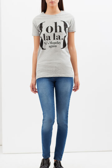 T-shirt mélange con stampa lettering, Grigio melange, hi-res