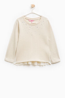 Pleated back sweatshirt with diamanté motif, Beige, hi-res