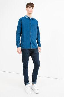 Denim shirt with G&H pocket, Blue, hi-res