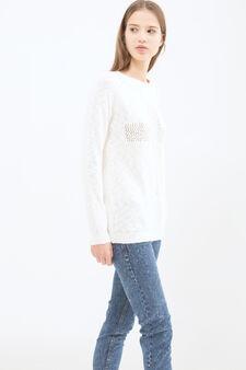 Pullover misto cotone traforato, Bianco, hi-res