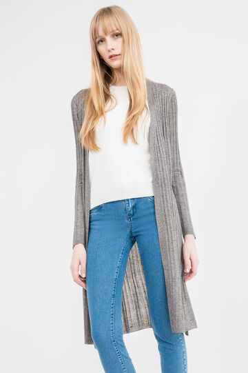 Long ribbed cardigan in viscose blend, Grey, hi-res