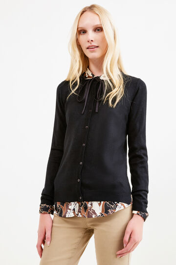 Solid colour knit cardigan with buttons, Black, hi-res