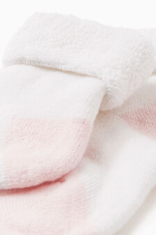 Short cotton blend socks with turn-down top, White/Pink, hi-res