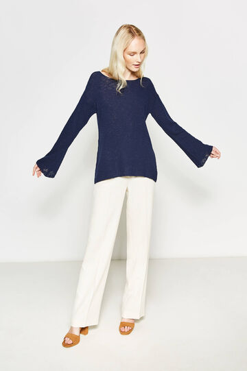 Knitted pullover with boat neck