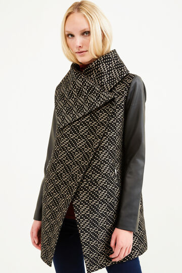 Jacquard coat with leather look sleeves, Multicolour, hi-res