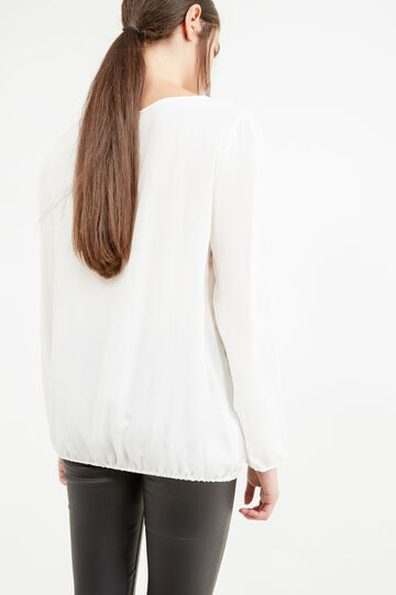 Long-sleeved blouse in 100% viscose, White, hi-res