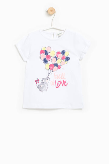Printed cotton T-shirt, White, hi-res