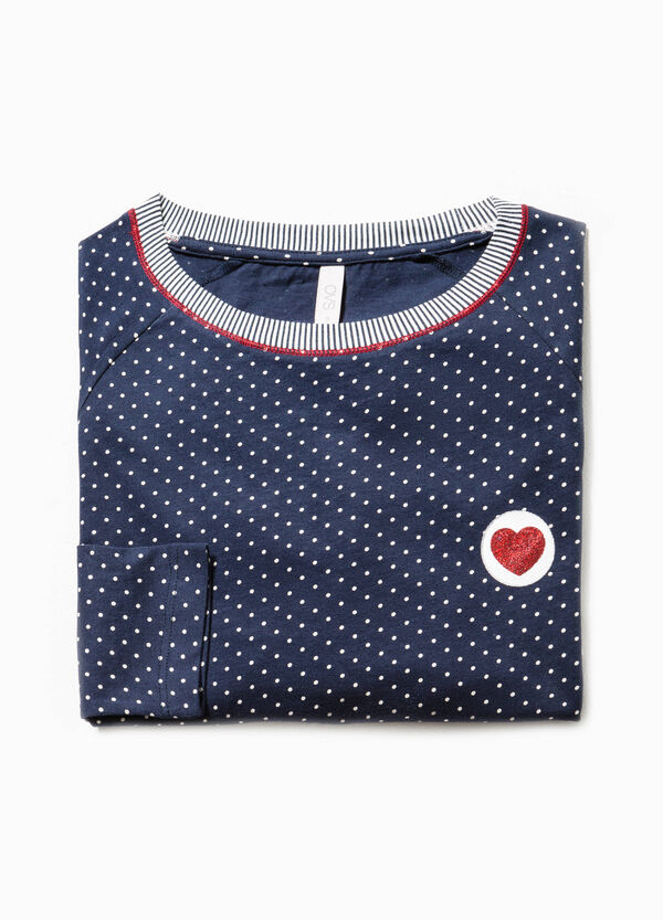 Striped and polka dot pyjama top in 100% cotton | OVS