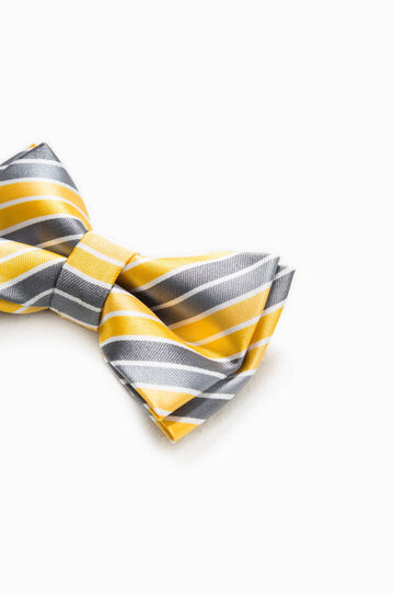 Striped bow tie, Yellow/grey, hi-res