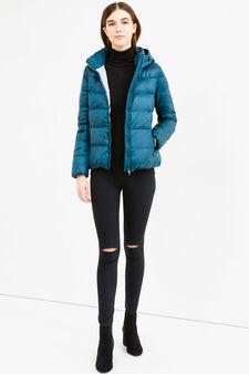 Down jacket with double pocket, Petrol Blue, hi-res