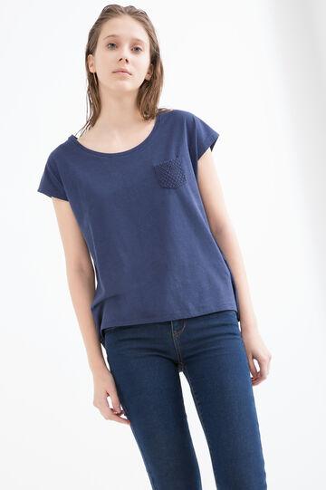 T-shirt misto cotone e viscosa, Blu, hi-res