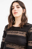 Stretch cotton T-shirt with lace., Black, hi-res