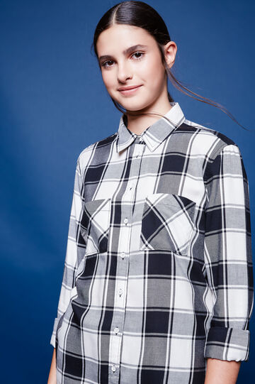 Checked cotton and viscose shirt, White/Black, hi-res