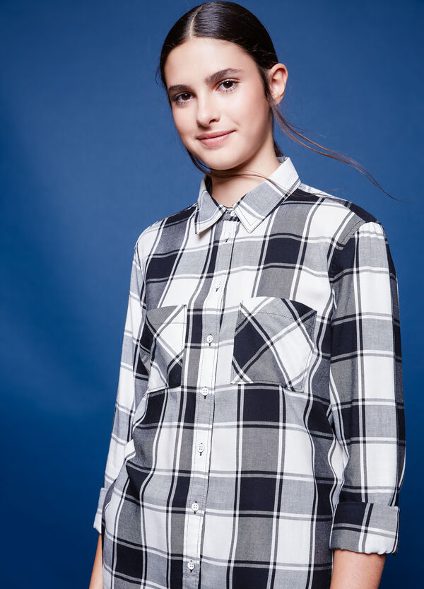 Checked cotton and viscose shirt | OVS