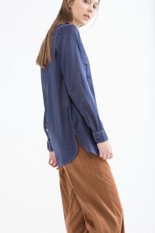 Linen blend shirt with pockets, Blue, hi-res
