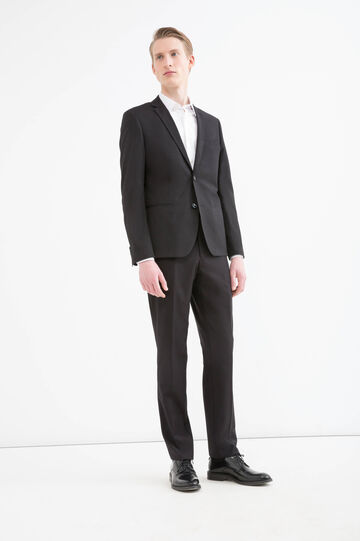 Slim fit stretch viscose blazer, Black, hi-res