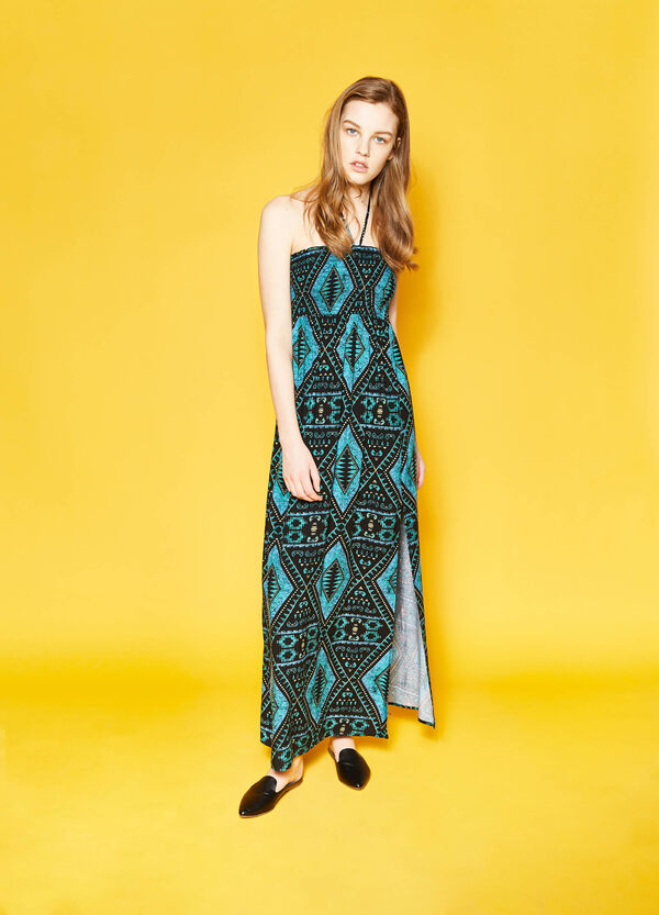 Long empire dress with ethnic print | OVS