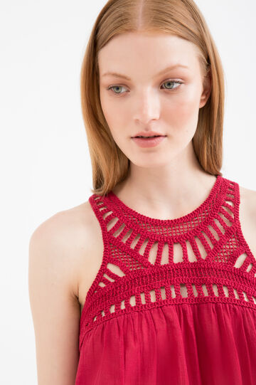 100% viscose top with crochet motif, Red, hi-res