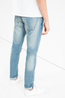 Comfort-fit, worn-effect jeans with abrasions, Light Wash, hi-res