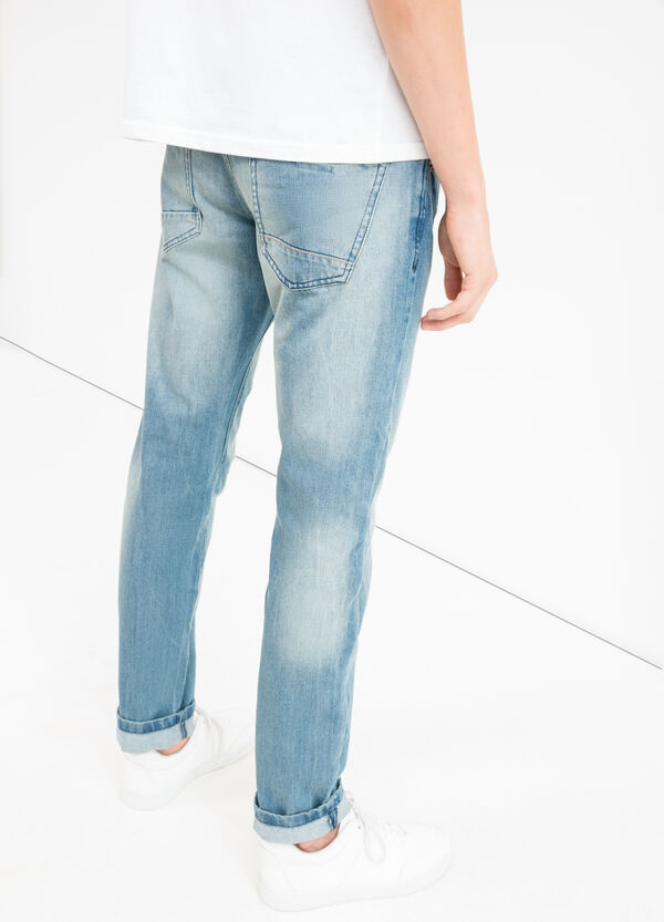 Comfort-fit, worn-effect jeans with abrasions | OVS