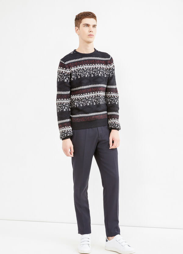 Patterned knitted pullover with crew neck | OVS