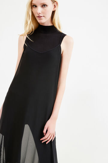 Sleeveless semi-sheer dress, Black, hi-res
