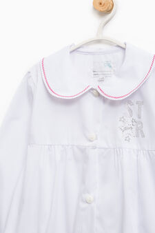 Nursery school smock with collar and embroidery, White, hi-res