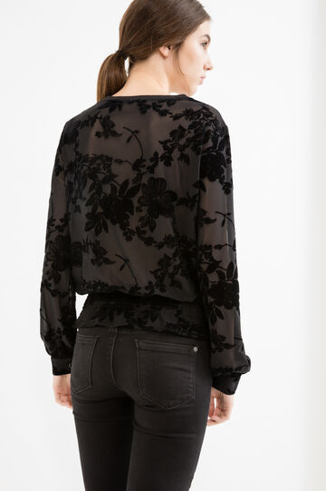 Blouse with flower print and elasticated hem, Black, hi-res