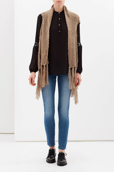 Knitted waistcoat with fringe, Camel, hi-res
