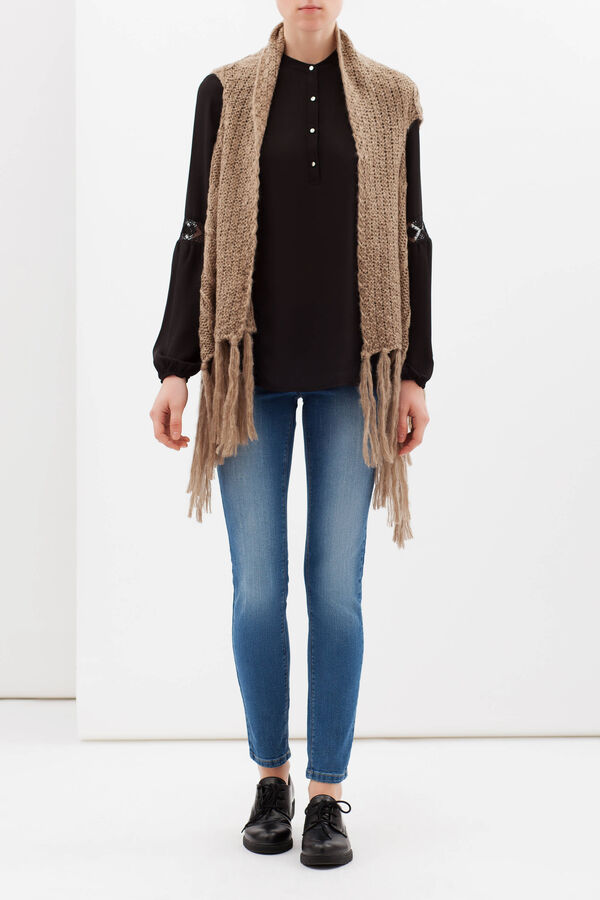 Knitted waistcoat with fringe | OVS