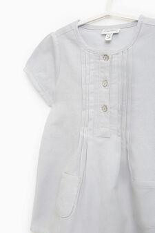 Puff-sleeved cotton dress, Grey Marl, hi-res