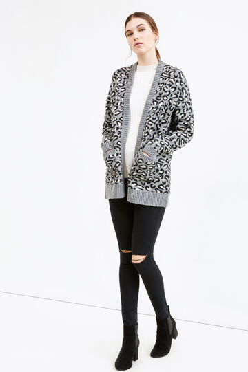 Knitted cardigan with animal pattern, Grey, hi-res
