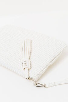 Clutch bag with removable strap, White, hi-res