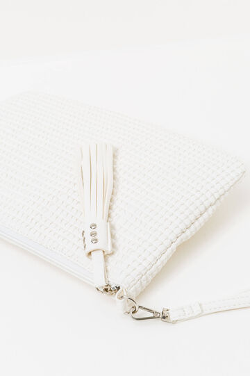 Solid colour clutch bag with strap, White, hi-res
