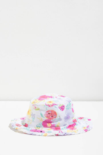 Wide-brimmed hat with flounce, White/Pink, hi-res