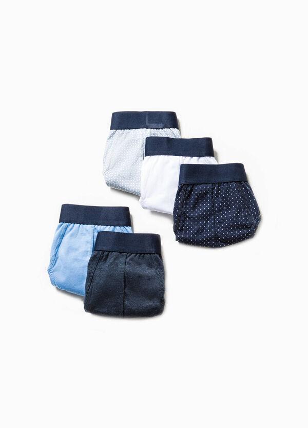 Pack de cinco calzoncillos en color liso y con fantasía | OVS