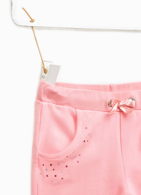 Cotton trousers with diamantés | OVS